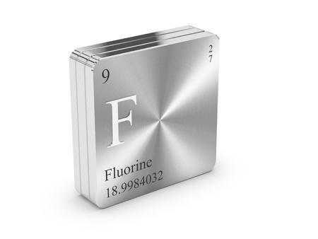 mendeleev: Fluorine - element of the periodic table on metal steel block