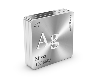 ag: Silver - element of the periodic table on metal steel block