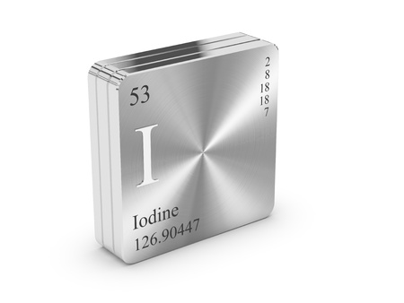 iodine: Iodine - element of the periodic table on metal steel block