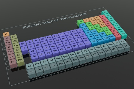 Periodic Table of the Elements - on black glass background Imagens