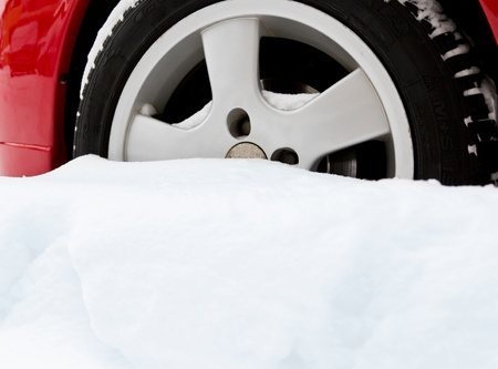 Car bogged down in snow Stock Photo - 12436069
