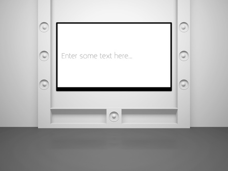 A room with modern design with a large blank screen on wall Stock Photo - 12436074