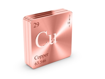 Copper - element of the periodic table on copper block photo