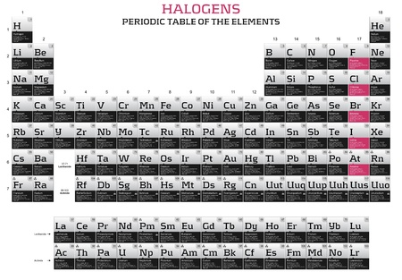 Halogens series in the periodic table of the elements photo