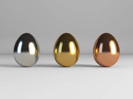 Gold egg, silver egg and bronze egg