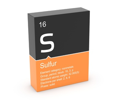 mendeleev: Sulfur from Mendeleev s periodic table Stock Photo