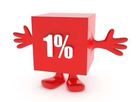 1 Percent off - discount happy figure Stock Photo - 13295057