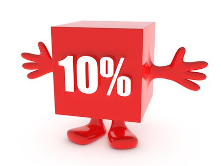 the day off: 10 Percent off - discount happy figure Stock Photo