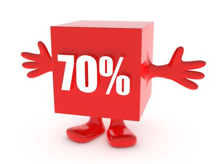 the day off: 70 Percent off - discount happy figure Stock Photo