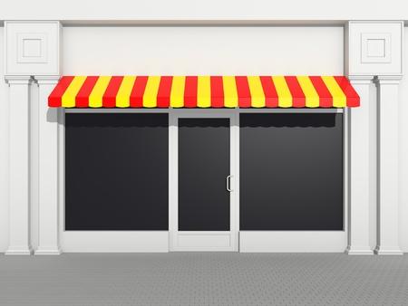 magasin: Shopfront - vitrine classique avec des auvents de couleur