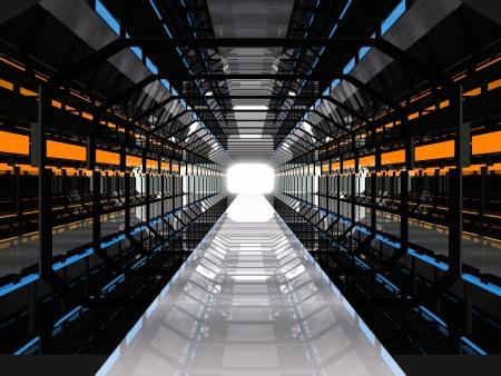 tunnel: Pasillo oscuro futurista con luces azules y amarillas Foto de archivo