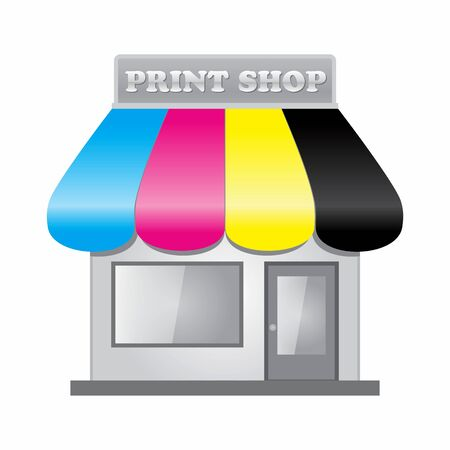 printshop: Front of a printshop with the awning in CMYK color