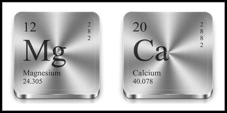 Magnesio e pulsanti web di calcio metalliche