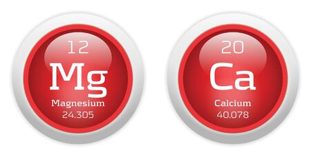 Magnesium: Magnesium and Calcium red glossy web buttons
