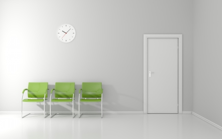 Three green chairs and wall clock in the waiting room