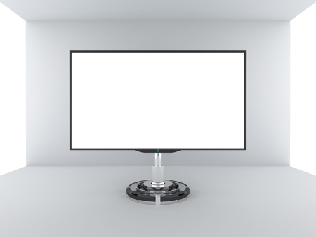 TV monitor with blank white screen photo