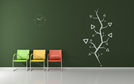 Modernes Interieur mit drei farbigen Stühlen, und verziert mit einem abstrakten Modell Wand Lizenzfreie Bilder