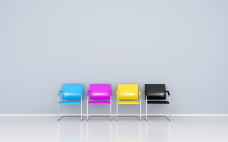designer chair: CMYK colored stools in the waiting room