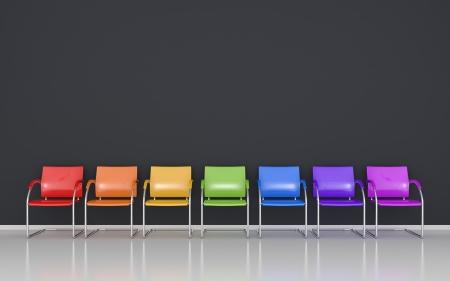 Farbige Stühle im Wartezimmer