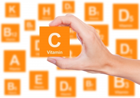 Hand holds a box of vitamin C