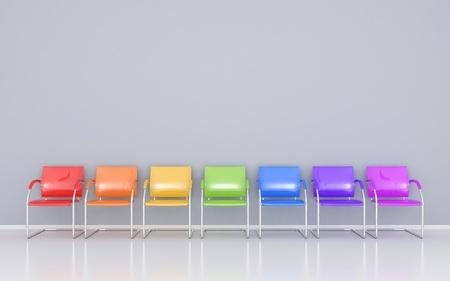 sandalye: Bekleme odasında renkli sandalyeler