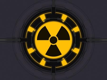radiactividad: La radiactividad en el s�mbolo de dispositivo de alta tecnolog�a Foto de archivo