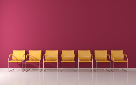 red chair: Yellow stools in the waiting room