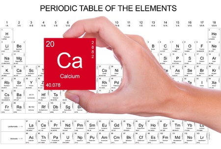 Calcium symbol handheld over the periodic table photo