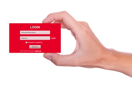 Login user name and password form handheld photo