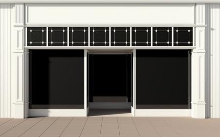 Shopfront mit großen Fenstern Lizenzfreie Bilder