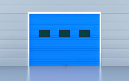 Blue industrial door or garage door photo