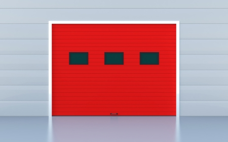 Red panels industrial door or garage door photo
