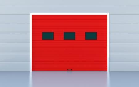 garage door: Red panels industrial door or garage door Stock Photo
