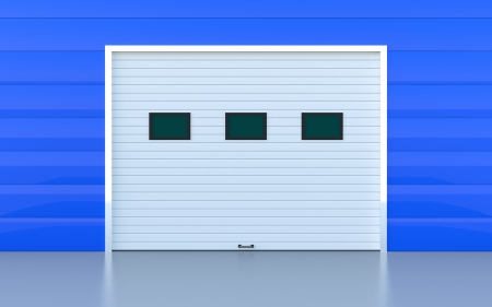 Industrial door or garage door blue panels wall Standard-Bild