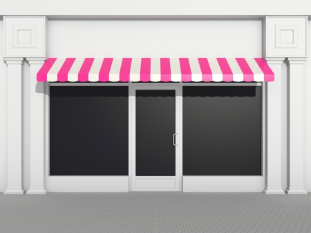 awnings: Shopfront - classic store front with pink awnings