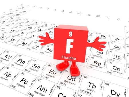 My name is Fluorine and this is the Periodic Table Stock Photo - 14894234