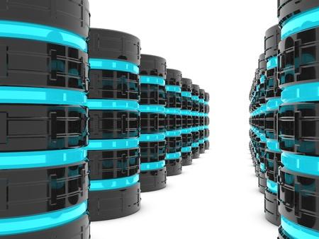 web hosting: Database server room or data center Stock Photo