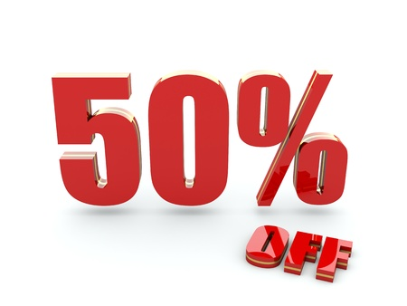 percentage sign: 50 Percent off Stock Photo