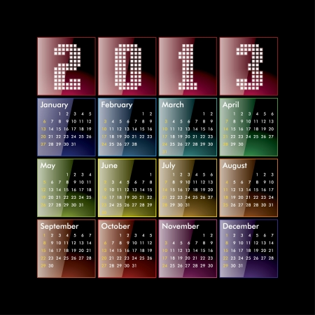 Colored glossy 2013 calendar Vector
