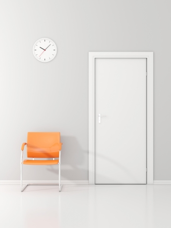 A wall clock and single orange chair in the waiting room