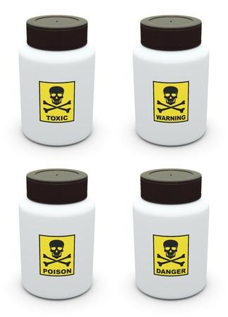 poison bottle: Toxic, Warning, Poison, Danger label on bottle