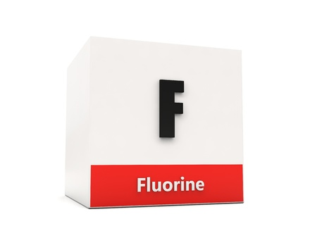 Fluorine box - element of the periodic table Stock Photo - 17094135