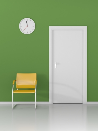 A wall clock and yellow chair in the waiting room