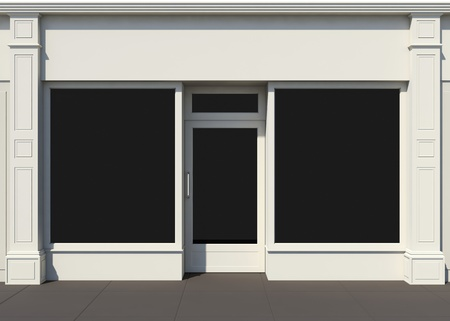 Shopfront with large windows  White store facade  Standard-Bild