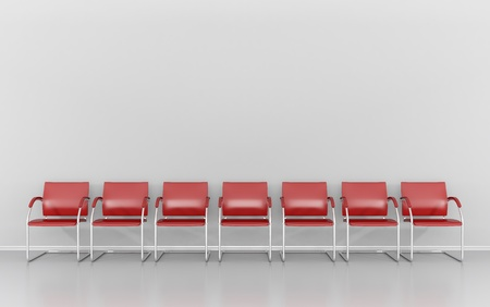 empty chair: Red stools in the waiting room Stock Photo