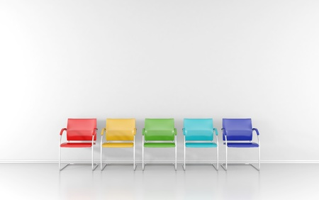 5 colored stools in the waiting room Standard-Bild