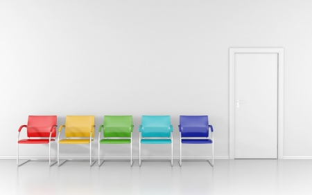 waiting room: 5 colored stools in the waiting room Stock Photo
