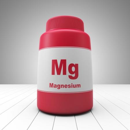 Magnesium ergänzt rote Flasche