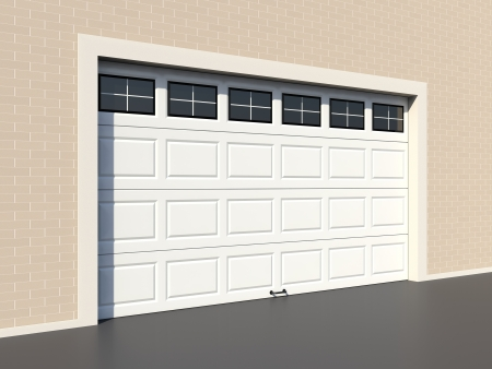 garage door: White modern garage door with windows Stock Photo