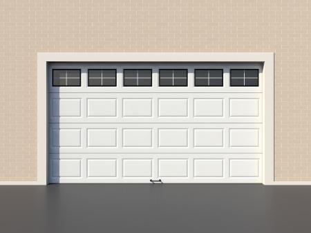 sectional door: Modern white garage door with windows